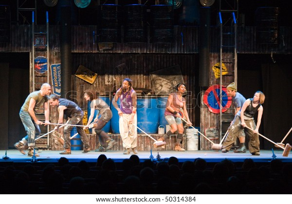 BUDAPEST - MARCH 24: Members of the STOMP perform on stage at Budapest Congress Center on March 24, 2010 in Budapest, Hungary.