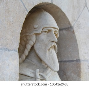 Budapest; May 13, 2018. A macro close up view of stone statue head with beard in the Fishermans Bastion in the Buda Castle.