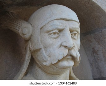 Budapest; May 13, 2018. A macro close up view of stone statue head in the Fishermans Bastion in the Buda Castle.