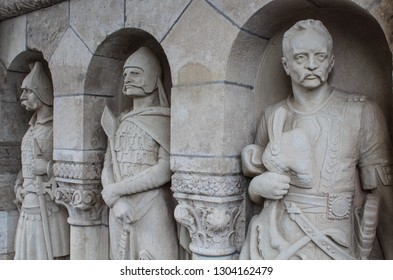 Budapest; May 13, 2018. Three stone statues in the Fishermans Bastion passage in the Buda Castle.
