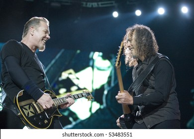 BUDAPEST - MAY 14: Metallica performs on stage at Puskas Ferenc Stadion on May 14, 2010 in Budapest, Hungary.