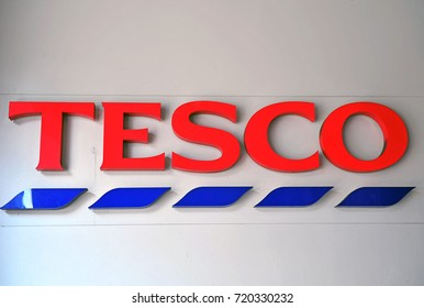 BUDAPEST - MAY 27: Logotype of Tesco supermarket in Budapest city on May 27, 2016. Tesco is the largest grocery stores chain in UK.