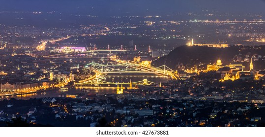 Budapest night landscape with river Danube