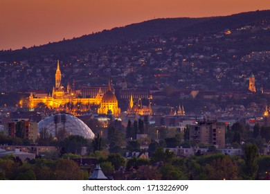 Budapest at night and lights with Parlament, Buda Castle, Matthias Church, Buda hills