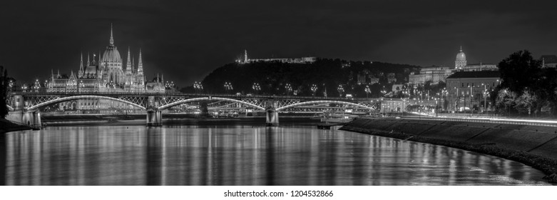 Budapest night  panorama The Parliament house and Royal Castle with the Margaret bridge  in the foreground.
