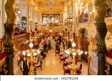 Budapest, NOV 9: Interior view of the famous New York Palace Café on NOV 9, 2018 at Budapest, Hungary