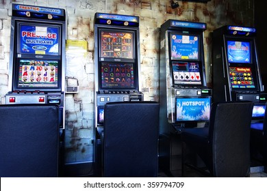 BUDAPEST, NOVEMBER 12, 2015 - Slot machines in a casino, Budapest, Hungary, Europe