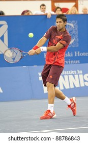 BUDAPEST - OCT 30: Fernando Verdasco returns ball against Gael Monfils at Tennis Classics IV. on October 30 2011 in Budapest, Hungary.