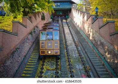 BUDAPEST - OCTOBER 2013: People go by funicular to Buda Castle in October 23, 2013, located in Budapest, Hungary. It is a funicular railway in the city.