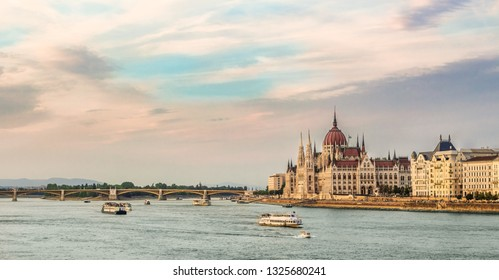 Budapest - panorama of the city with the Danube river. A tourist part of Budapest with a view of the Danube and the Parliament.