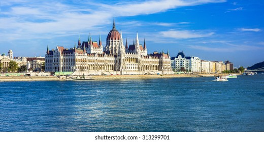 Budapest - panorama with famous landmark Parlament, Hungary