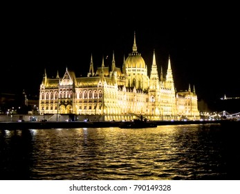 Budapest Parliament Building at night, Danube river, Hungary