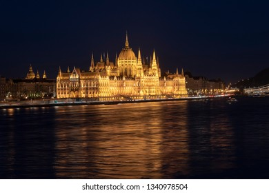 Budapest parliament building night view