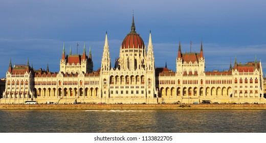 The Budapest Parliament building at sunset , Hungary