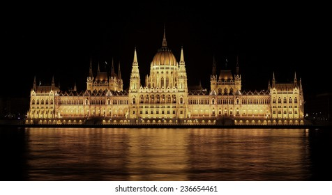 Budapest Parliament at night.