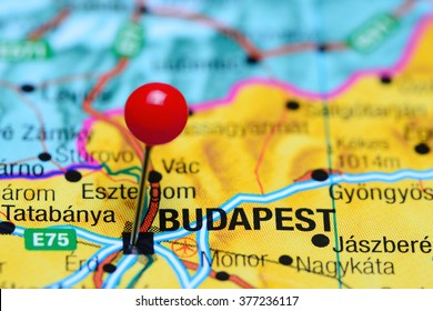 Budapest pinned on a map of Hungary