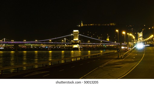 Budapest riverfront at night