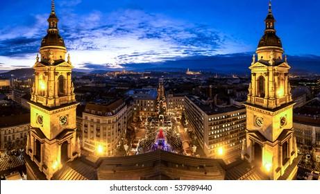 Budapest Saint Stephan Basilica panorama after sunset