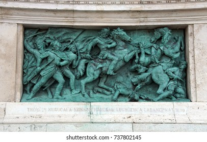 BUDAPEST - SEP 4, 2016 - Monument on Heroes Square  Budapest, Hungary