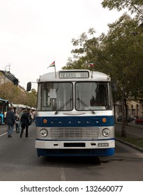 BUDAPEST - SEPTEMBER 22: Vintage bus exhibited on Andrassy Avenue on the occasion of Car Free Day September 22, 2012 in Budapest, Hungary. Ikarus 180 model was manufactured from 1948 to 1973.