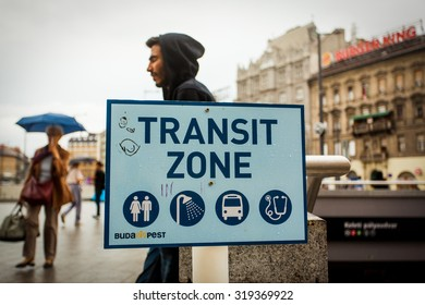 BUDAPEST - SEPTEMBER 4 :Transit zone at the Keleti Railway Station for war refugees on 4 September 2015 in Budapest, Hungary. Refugees are arriving constantly to Hungary on the way to Germany.