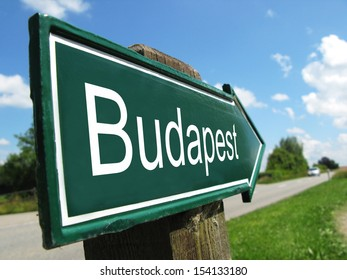 Budapest signpost along a rural road
