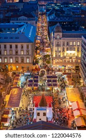 Budapest St Stephen's square Christmas market as seen from above at night