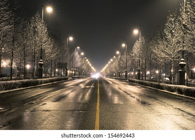 Budapest street on a winter night
