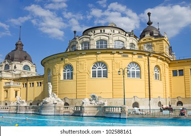 budapest szechenyi bath spa in summer with people