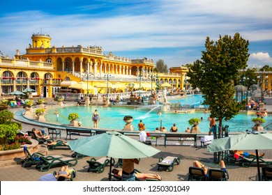Budapest Thermal Bath, sunshine, no recognisable people