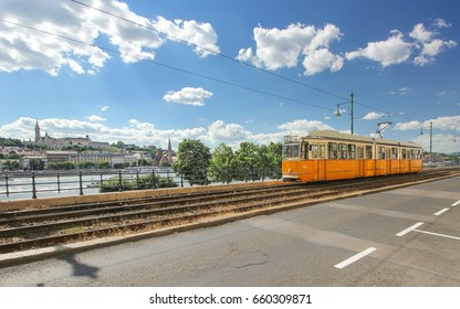 Budapest yellow tramways (streetcars) at one of the terminuses
