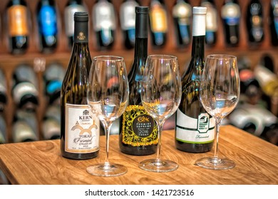 Budapest/Hungary - 01-21-2018: Hungarian Wine sets, wine's still life (Kekfrankos, Furmint, Kadarka, Aszu, Tokaji, Juhfrank, Egri Bikavér, CserszegiFűszeres, SzurkeBorat, Hárslevelű etc.)