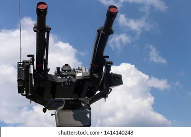 BUDAPEST/HUNGARY - 05.18, 2019: A Mistral surface-to-air twin missile turret at a defense show, against a blue sky.