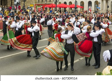 BUDAPEST,HUNGARY, 09 APRIL 2016 :Spring celebration parade through the streets of downtown.Folk Dancers in front of Opera house.