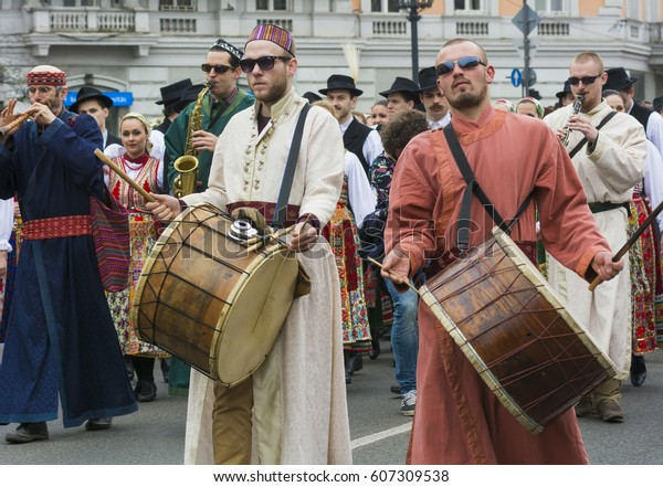 BUDAPEST,HUNGARY, 09 APRIL 2016 :Spring celebration parade through the streets of downtown.Drummers in parade.