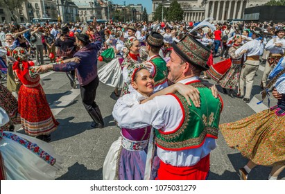 BUDAPEST,HUNGARY - APRIL 22. 2018.: Spring celebration parade at Heroes Square.Folk dancers in traditional folk costumes