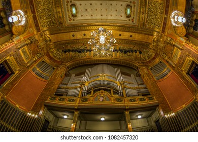 BUDAPEST,HUNGARY - APRIL 24,2018 : The organ and the richly decorated ceiling at main hall of the Franz Liszt Academy of Music.It is a concert hall and music conservatory in Budapest,founded in 1875.