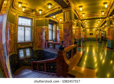 BUDAPEST,HUNGARY - APRIL 24,2018 : The stairs to the green entrance hall of the Ferenc Liszt  Academy of Music.It is a concert hall and music conservatory in Budapest,founded by Franz Liszt in 1875.