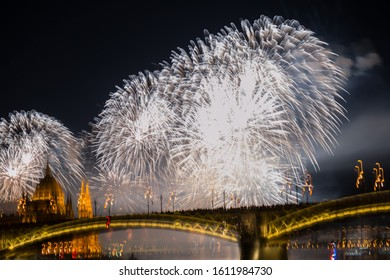 Budapest,Hungary august 20,2019:Not in focus,blurred view of firework near parlament of Hungary in St. Stephen's Day