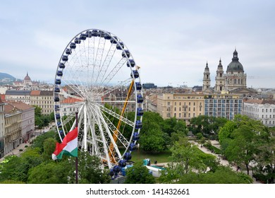 BUDAPEST/HUNGARY - JUNE 03: Sziget Eye 65 m high ferris wheel being installed in Elisabeth Park, city center, as seen from the roof of Kempinski Hotel Corvinus, on June 03,  2013 in Budapest/Hungary.