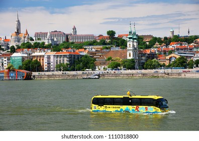 BUDAPEST,HUNGARY- MAY 30, 2018: River Ride,Floating Bus sightseeing on land and water in Budapest, Hungary.