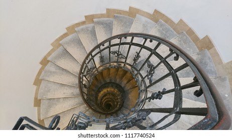 Budapest/Hungary- November 5, 2017: A Spiral Staircase within the St. Stephen's Basilica in Budapest.