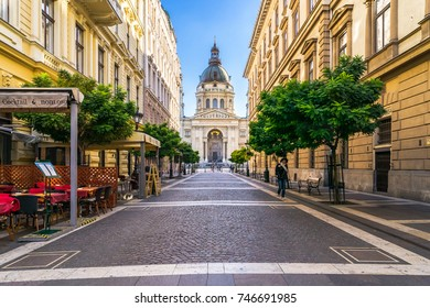Budapest,Hungary, October 9, 2017:view along a street to St. Stephen's Basilica Roman Catholic basilica