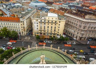 Budapest,Hungary-03.19.2018: Aerial Budapest city skyline at St. Stephen's Basilica. Budapest.