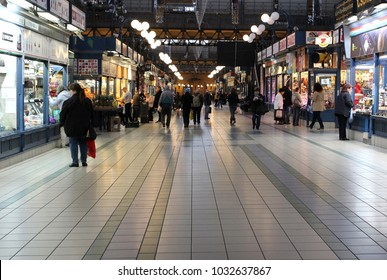 Budapest,Hungary,10th of November,2017. Overview of the Great Market Hall inside with shops and shoppers.