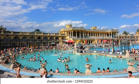 Budapest,Hungary-9/18/2017 Szechenyi Baths in Budapest in Hungary on a sunny day.  The biggest bath complex in Europe.
