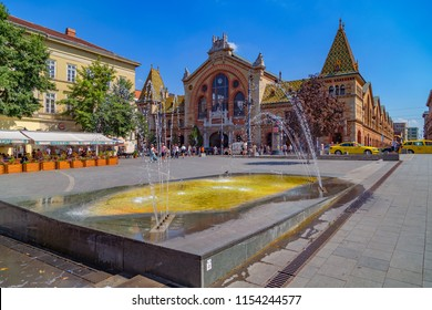 BUDAPEST,HUNGARY-AUGUST 09,2018 :View of Central Market Hall secession style building. Main Market Hall is the largest indoor market in Budapest, it was built in 1897,and still in full glory.