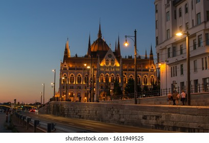 Budapest,Hungary-august 18,2019:View of the Hungarian Parliament in the evening