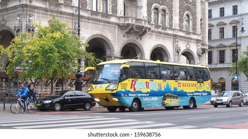 BUDAPEST,HUNGARY-OCTOBER 20: River Ride,Floating Bus sightseeing on land and water or October 20, 2013 in Budapest, Hungary. It has as received a TripAdvisor Certificate of Excellence award 2013