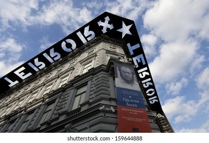 BUDAPEST,HUNGARY-OCTOBER 20:Exterior of the House of Terror on October 20, 2013 in Budapest,Hungary .The museum opened 2002 is a member organisation of the Platform of European Memory and Conscience